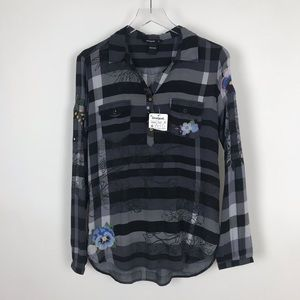 Disigual Plaid & Floral Embroidered Blouse Shirt